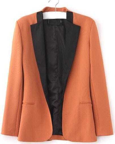 Orange Satin Collar Long Sleeve Curved Hem Slim Blazer