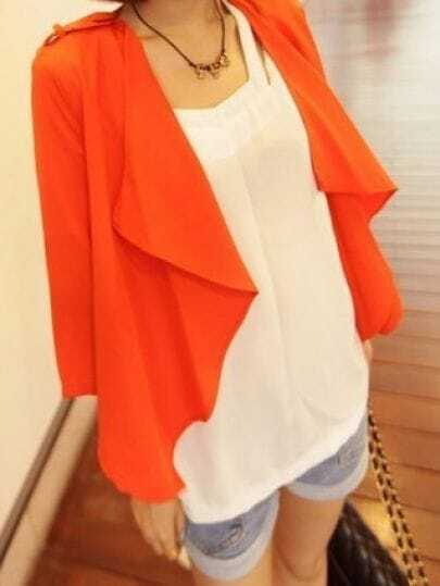 Orange Tabs Shoulder Draped Collar Half Sleeve Chiffon Blazer