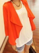 Orange Tabs Shoulder Draped Collar Half Sleeve Chiffon Blazer