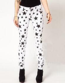 White Black Stars Print Skinny Denim Pant