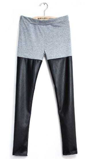 Grey Contrast Black PU Leather Legging