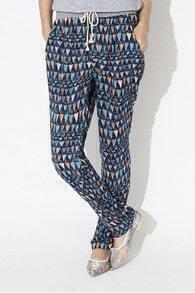 Navy Abstract Triangle Print Drawstring Waist Pants