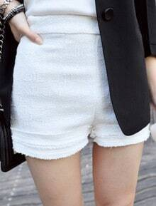 White High Waist Turn Up Frayed Hem Shorts