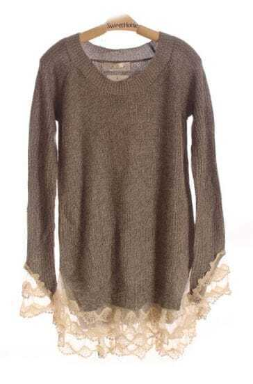 Grey Floral Lace Cuffs and Hems Long Sleeve Loose Jumper