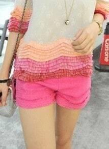 Pink High Waist Turn Up Frayed Hem Shorts