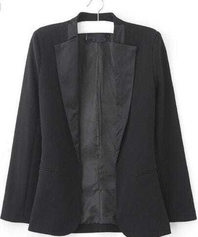 Black Satin Collar Long Sleeve Curved Hem Slim Blazer