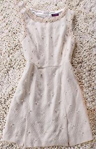 Beige Sleeveless Pearl Embellished Zip Back Dress