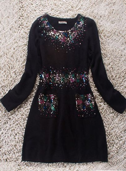 Black Long Sleeve Double Pockets Sequined Woolen Blends Dress