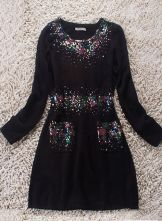 Black Long Sleeve Double Pockets Sequined Woolen Blends Dress