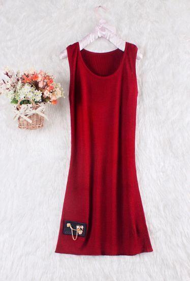 Red Sleeveless Skull Chain Embellished Tank Dress
