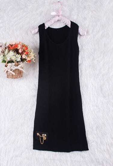 Black Sleeveless Skull Chain Embellished Tank Dress