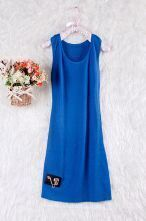 Blue Sleeveless Skull Chain Embellished Tank Dress