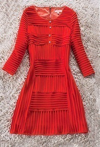 Red Long Sleeve Zip Back Button Pleated Dress