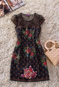 Black Cap Sleeve Floral Embroidery Contrast Mesh Dress