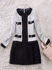 White Black Long Sleeve Pockets Contrast Hem Zip Back Dress