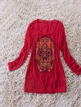 Red Long Sleeve Beads Embellished Skull Print T-Shirt