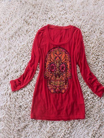 Red Long Sleeve Beads Embellished Skull Print T-Shirt