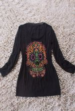 Black Long Sleeve Beads Embellished Skull Print T-Shirt