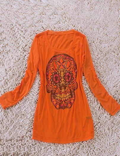 Orange Long Sleeve Beads Embellished Skull Print T-Shirt
