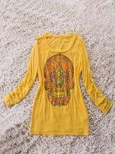 Yellow Long Sleeve Beads Embellished Skull Print T-Shirt