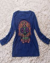 Navy Long Sleeve Beads Embellished Skull Print T-Shirt