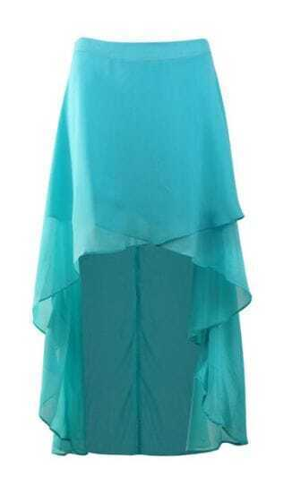 Turquoise Chiffon High Low Criss Cross Front Skirt