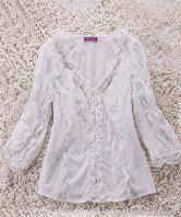 White Long Sleeve Ruffle Frill Embellished V Neck Blouse