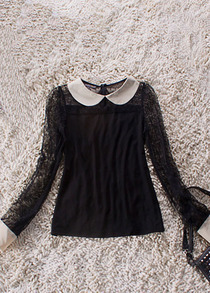 Black Sheer Lace Long Sleeve Contrast Collar and Cuffs Blouse