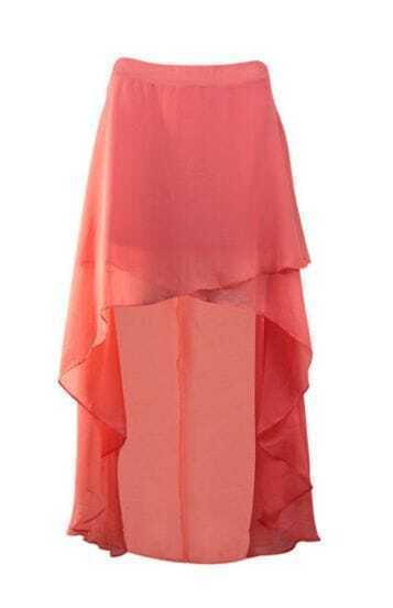 Pink Chiffon High Low Criss Cross Front Skirt