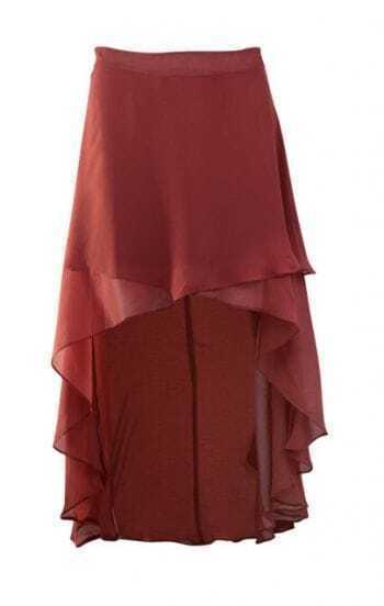 Burgundy Chiffon High Low Criss Cross Front Skirt