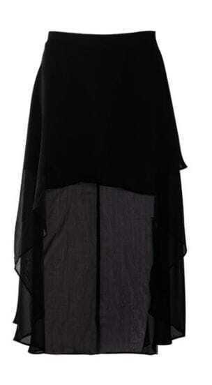Black Chiffon High Low Criss Cross Front Skirt