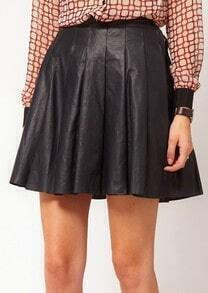 Black PU Leather Pleated Short Skirt