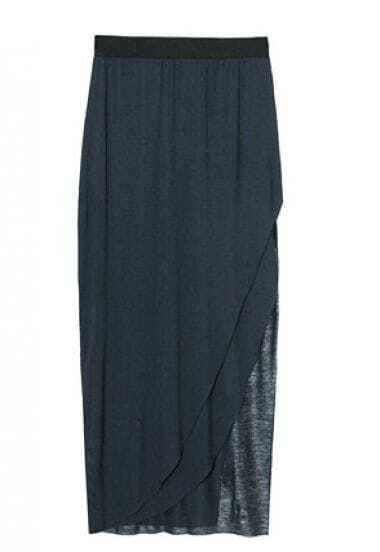 Dark Blue Cotton Split Side Pleated Maxi Skirt