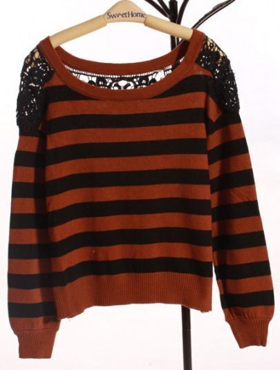 Coffee Round Neck Long Sleeve Striped Hollow Lace Sweater