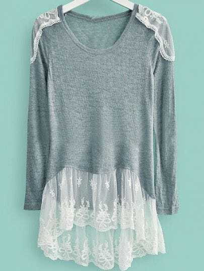 Grey Round Neck Long Sleeve Lace Sweater