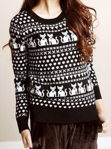 Black Vintage Round Neck Long Sleeve Cats Print Hollow Sweater