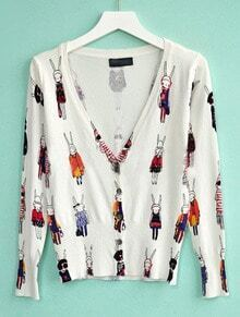 White V Neck Long Sleeve Cartoon Print Sweater