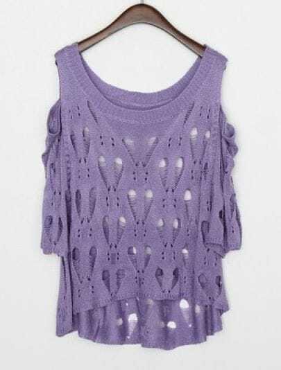 Purple Round Neck Half Sleeve Hollow Loose Sweater