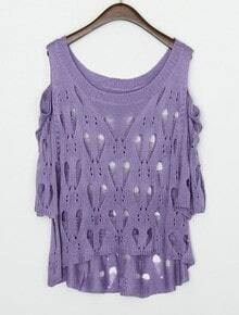 Purple Round Neck Half Sleeve Hollow Loose Sweater