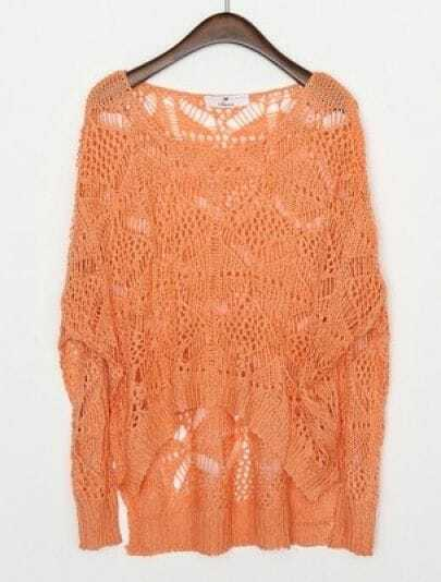 Orange Round Neck Long Sleeve Hollow Batwing Loose Sweater