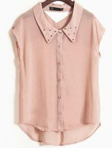 Pink Lapel Sleeveless Rivet Hollow Chiffon Shirt
