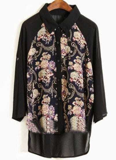 Black Lapel Half Sleeve Floral Loose Chiffon Shirt
