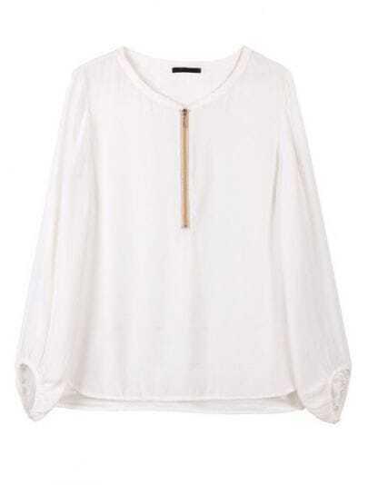 White Round Neck Long Sleeve Zipper Silk Shirt