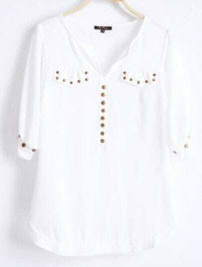 White V Neck Half Sleeve Studded Pockets Chiffon Shirt