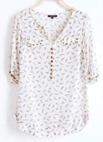 Beige V Neck Half Sleeve Leaves Print Rivet Pockets Chiffon Shirt
