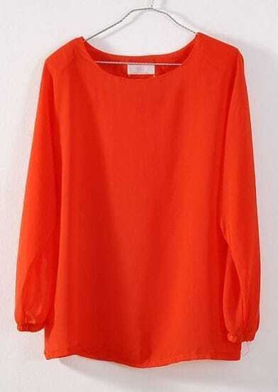 Orange Round Neck Long Sleeve Batwing Sheer Loose Chiffon Shirt