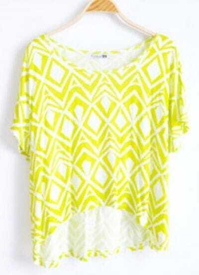 Green Round Neck Short Sleeve Geometric Print Asymmetrical Cotton T-Shirt