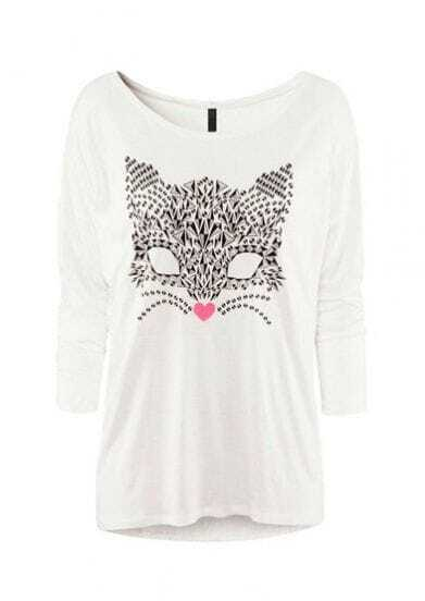 White Round Neck Three Quarter Length Sleeve Cat Print Modal T-Shirt