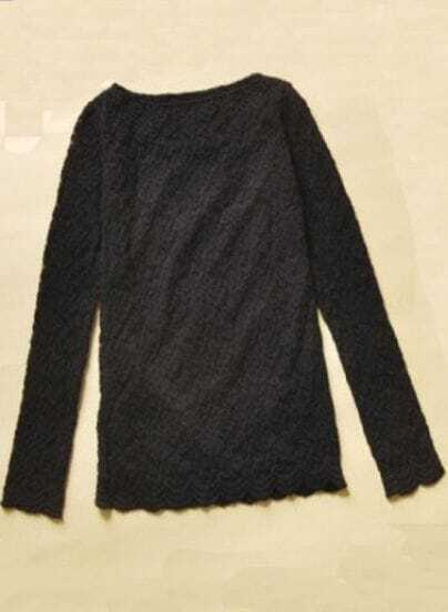 Black Round Neck Long Sleeve Lace Polyester T-Shirt
