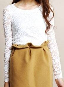 White Round Neck Long Sleeve Lace Polyester T-Shirt